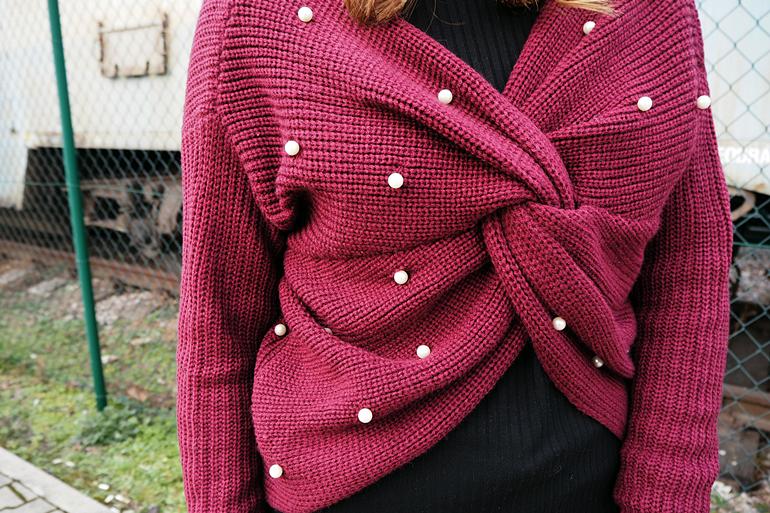 V Neck Twist Pearly Sweater - Wine Red Zaful.com