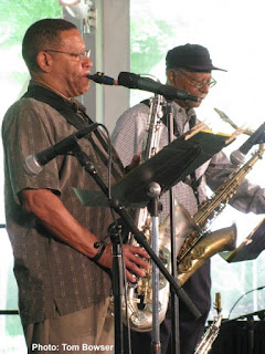 Edwin Daugherty - saxophone and Ari Brown - saxophone of The Edwin Daugherty Sextet plays the Von Freeman Pavilion at the Chicago Jazz Festival - Photo by Tom Bowser