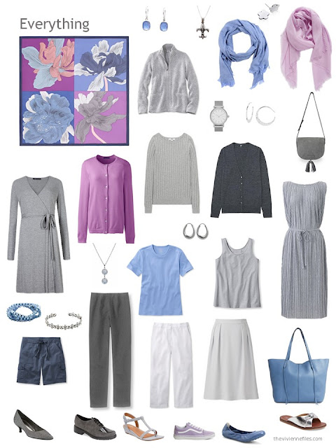 a travel capsule wardrobe in grey, white, light blue and orchid