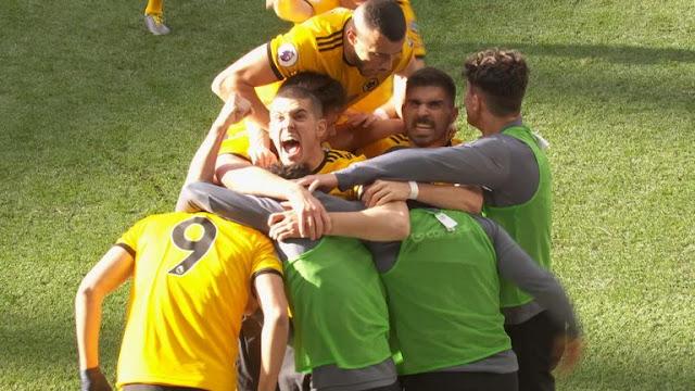 Wolverhampton Wanderers Raul Jimenez Celebrates Goal against Chelsea