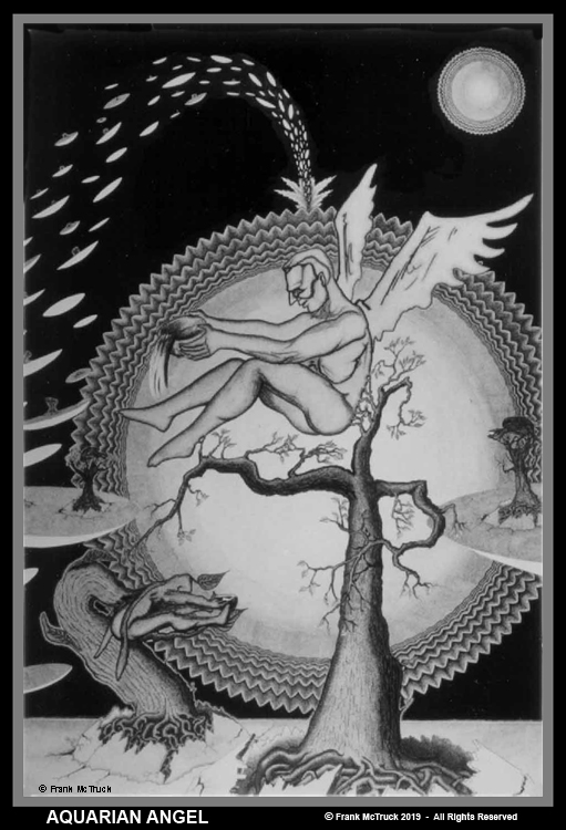 Frank McTruck pen and ink art 'Aquarian Angel -'1977'