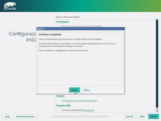 """Confirme a instalação do openSUSE clicando em """"Instalar"""""""
