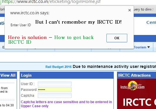 what is my IRCTC ID