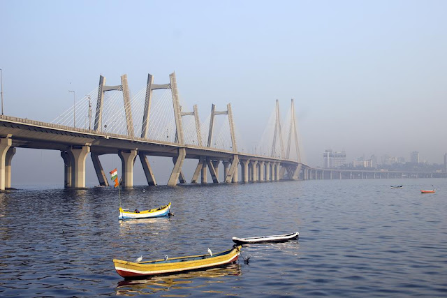 bwsl, bandra, worli, sealink, bridge, jetty, fishing boats, morning, india,