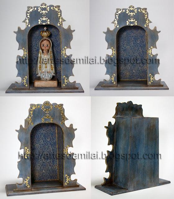 oratório em madeira decorado