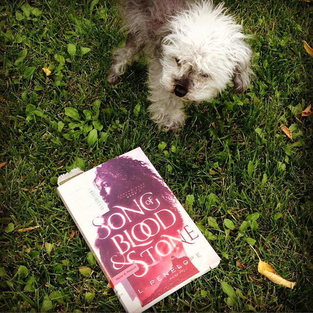 Murchie stands on a very green patch of grass, slightly behind a trade paperback copy of Song of Blood & Stone. Its pink cover features a young black woman whose silhouette encases a gleaming city with a tower at its heart.