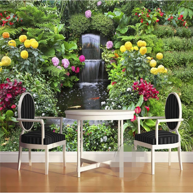 Garden wall murals 3D wallpaper living room bedroom Flower Garden green plants photo wallpaper Water fall
