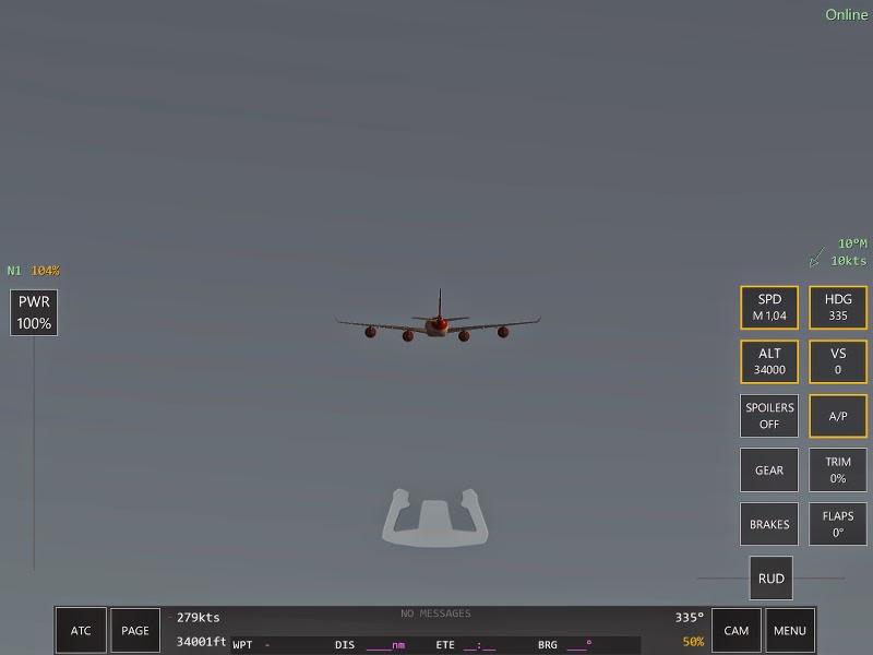 A340 scène du jeu de simulation de pilotage d'avions Infinite Flight