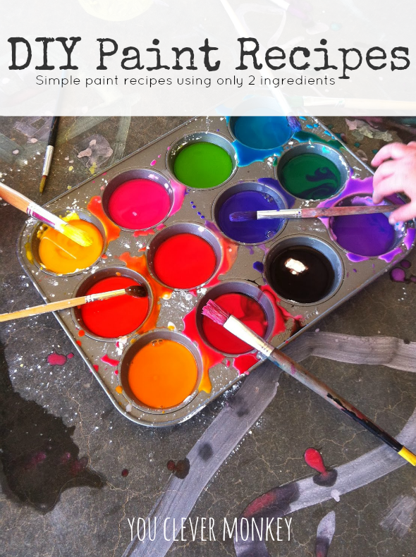 Easy DIY Paint Recipes - make your own cheap paint by hand. Perfect for young children to make independently and learn how new colours are made | you clever monkey