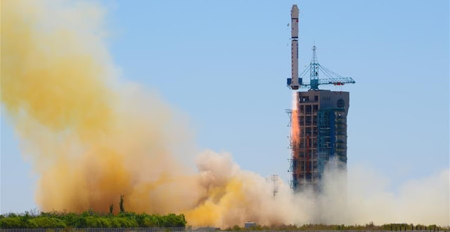 A Long March 2D rocket carrying the Yaogan-30 remote sensing satellite blasts off at the Jiuquan Satellite Launch Center in Jiuquan, northwest China's Gansu Province, May 15, 2016. Photo Credit: Xinhua/Wang Jiangbo