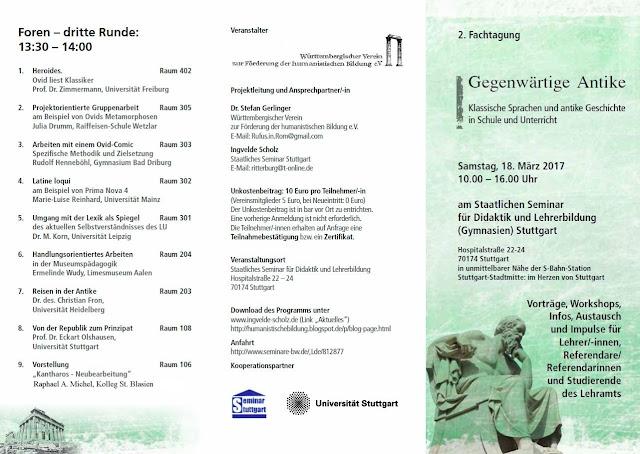 """Fachtagung """"Gegenwärtige Antike""""  Samstag, 18. März 2017, 10.00 – 16.00 Uhr am Staatlichen Seminar für Didaktik und Lehrerbildung (Gymnasien) Stuttgart, Hospitalstraße 22-24, 70174 Stuttgart"""