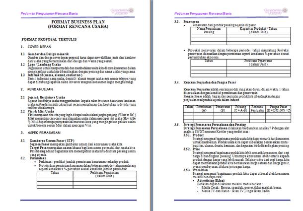 Contoh Susunan Proposal Usaha - Panduan Penyusunan Proposal Usaha