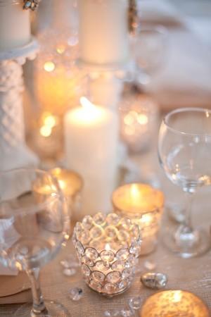 decoration table toile jute cristal