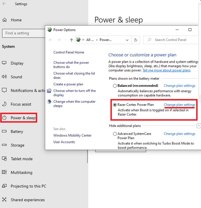 Power option settings: power & sleep