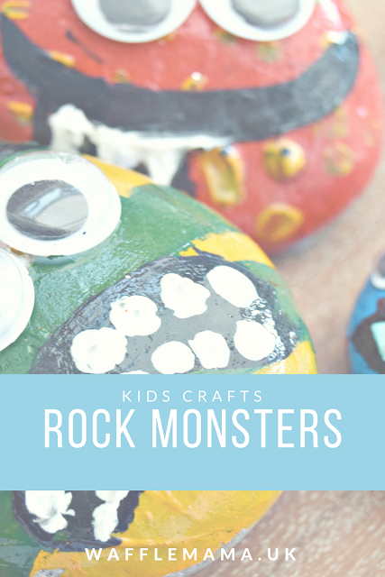 MONSTER CRAFT FOR KIDS PEBBLES PAINT GOOGLY EYES