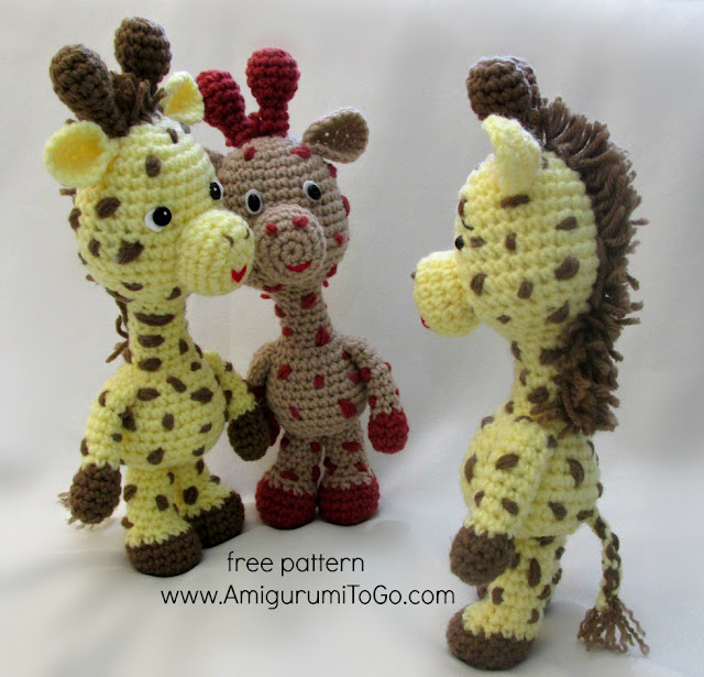 3 crochet giraffes yellow and brown