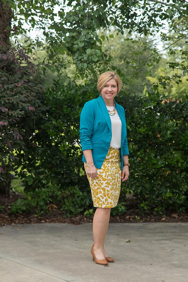 mustard print skirt