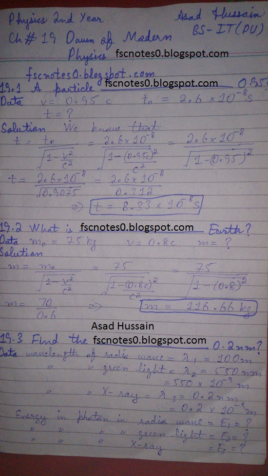 F.Sc ICS Notes: Physics XII: Chapter 19 Dawn of Modern Physics Numerical Problems Asad Hussain