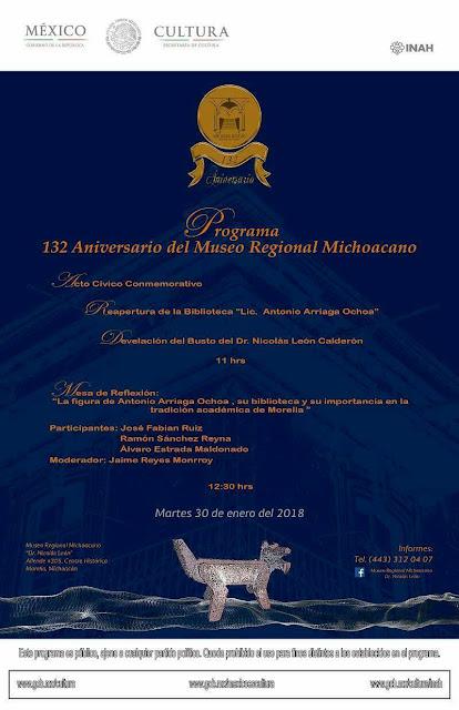 Cartel del  132 Aniversario del Museo Michoacano