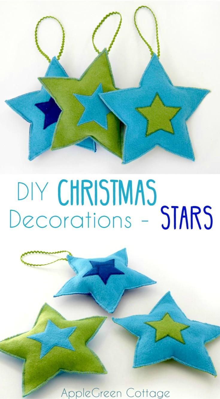 DIY Christmas Decorations - Felt Stars Free Pattern ...