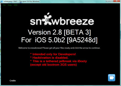 Download Sn0wbreeze 2.8 Beta 3 To Jailbreak iOS 5 Beta 2 [ Windows ]