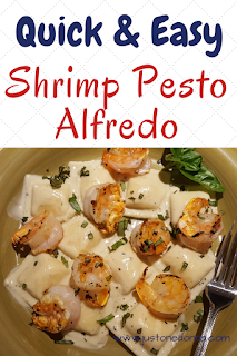 Grilled Shrimp Pesto Alfredo with Cheese Ravioli