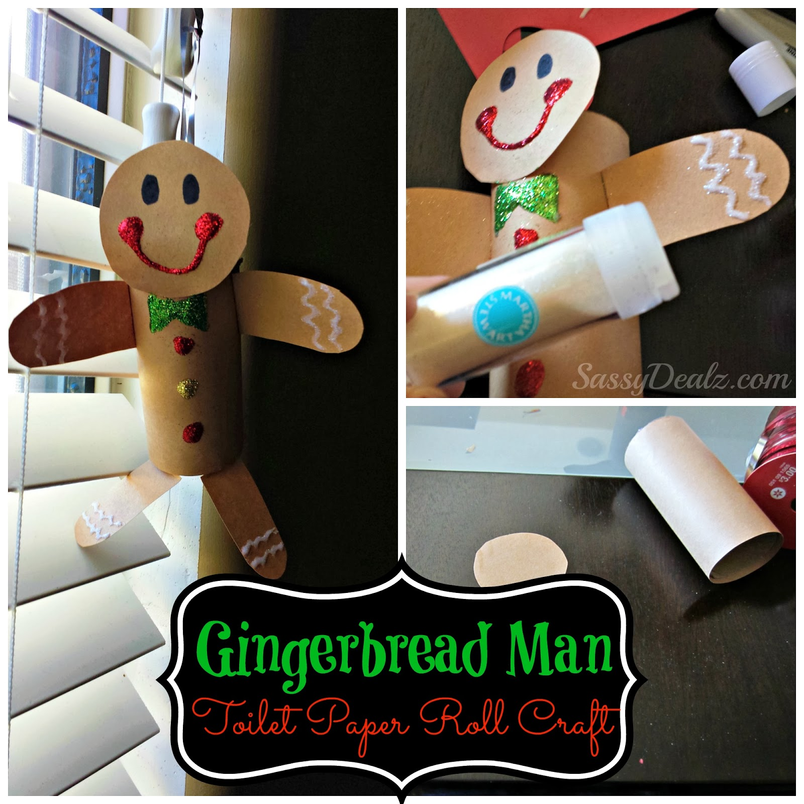 Gingerbread Man Toilet Paper Roll Craft For Kids Cute Christmas Art Project