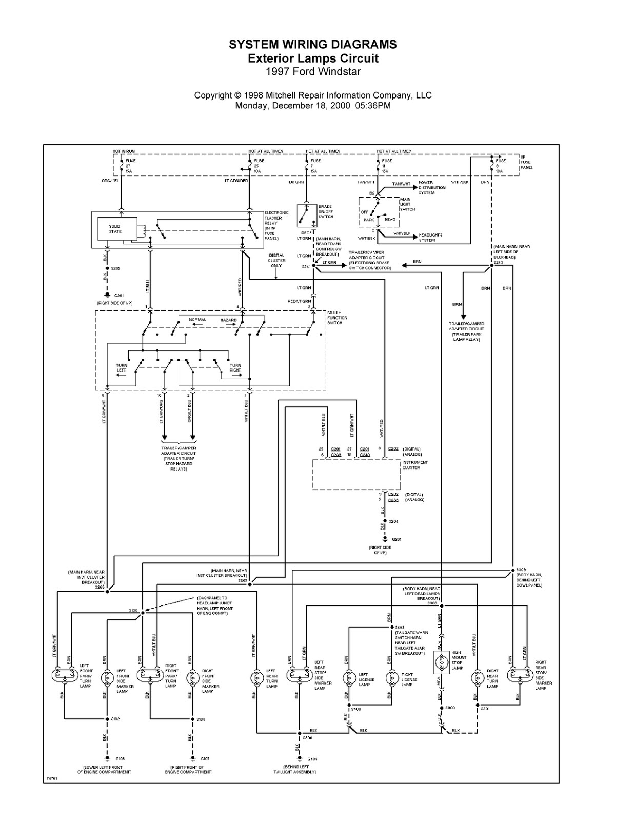 1997 Ford Windstar Complete System Wiring Diagrams