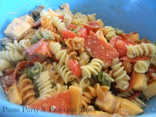 Rainbow Party Food, Pizza Pasta Salad