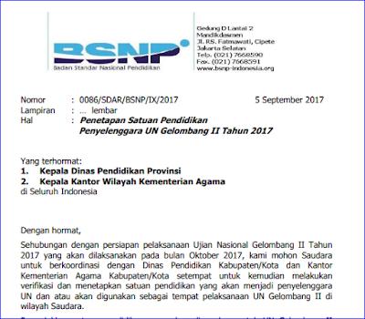 Penetapan Satuan Pendidikan Penyelenggara UN Gelombang II Tahun Ajaran 2017/2018 - Surat Edaran BSNP