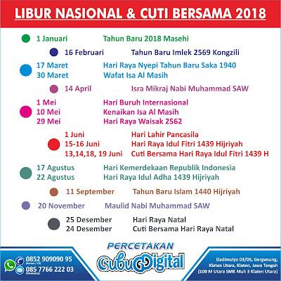 Cetak Kalender 2018 Klaten, Boyolali, Solo, Jogja, Semarang, Surabaya, Jakarta, Balikpapan, Palangkaraya, Makasar, Gorontalo, Papua, Batam, Medan, Desain Kalender 2018