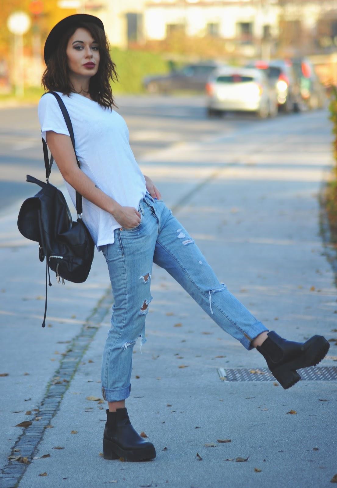 Blue jeans, white shirt - Posh Underground - photo#16