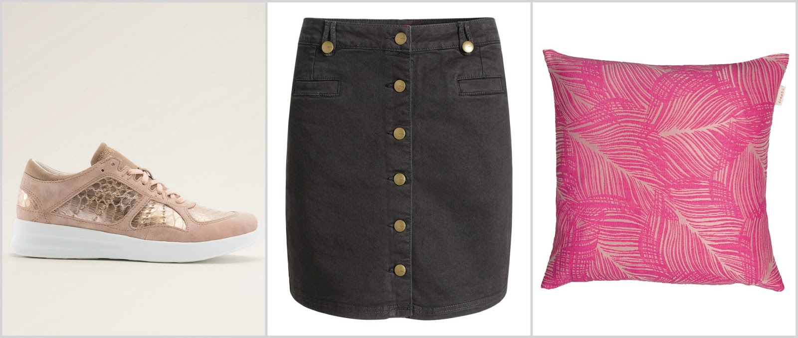 spring esprit wishlist pink rose gold trainers a-line button up skirt pink palm print cushion