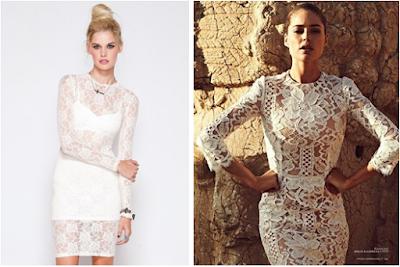 vestido de renda branco curto
