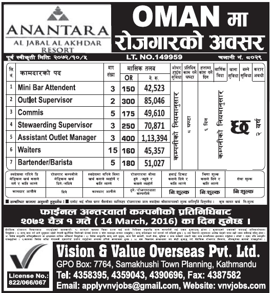 Jobs VACANCY in OMAN for Nepali, Salary Up to Rs 1,1,3,394