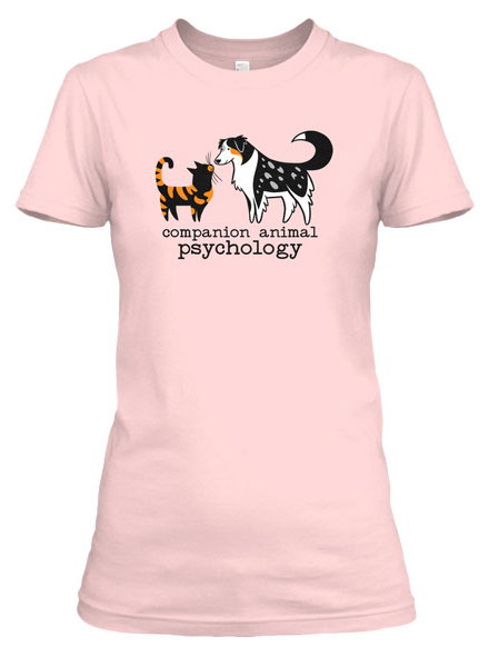The cat loves dog t-shirt is available in pink and other colours
