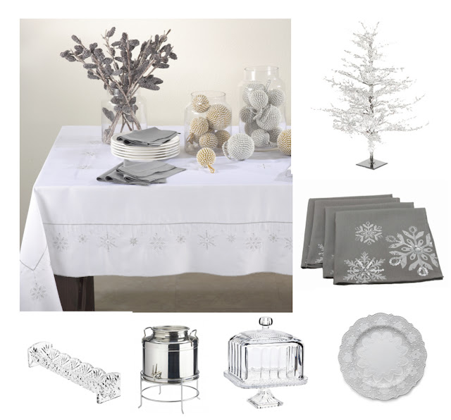 White Wintery Table Linen Tablecloth, Icey Winter Tree, Crystal Cake Plate, White Plate with Lace Design, Stainless Coffee Beverage Dispenser