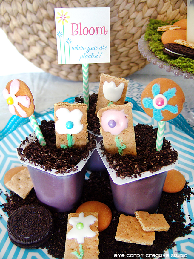 bloom where you are planted, pudding cups idea, flower cookies