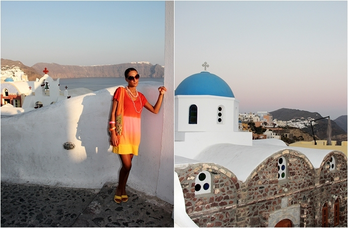 colorful fashion and looks for Santorini