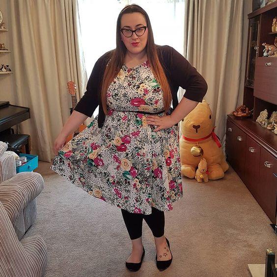 Lindy Bop floral and leopard print plus size dress