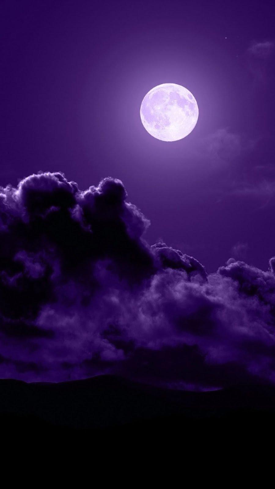 Iphone7 Iphone6 壁紙box 幻想的な紫の月 壁紙