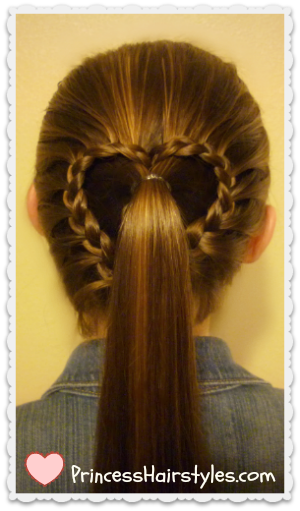 Lace braid heart ponytail