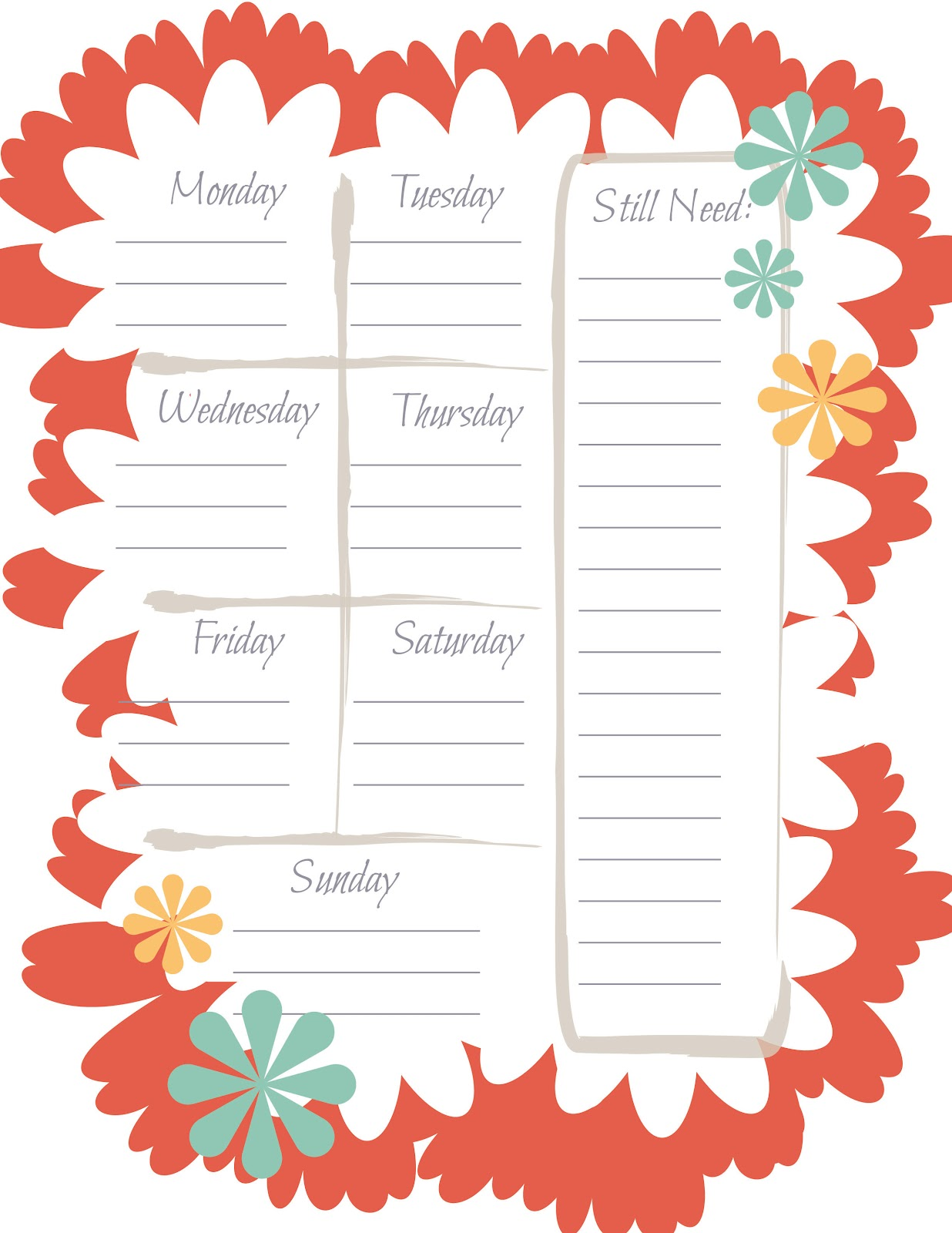 Monthly Calendars Printable Menus Dinner