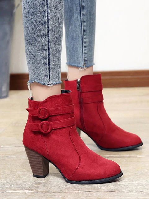 Double Buckle Side Zip Chunky Boots