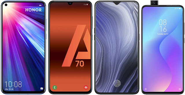 Honor View 20 128 GB vs Samsung Galaxy A70 vs Oppo Reno Z vs Xiaomi Mi 9T 64G