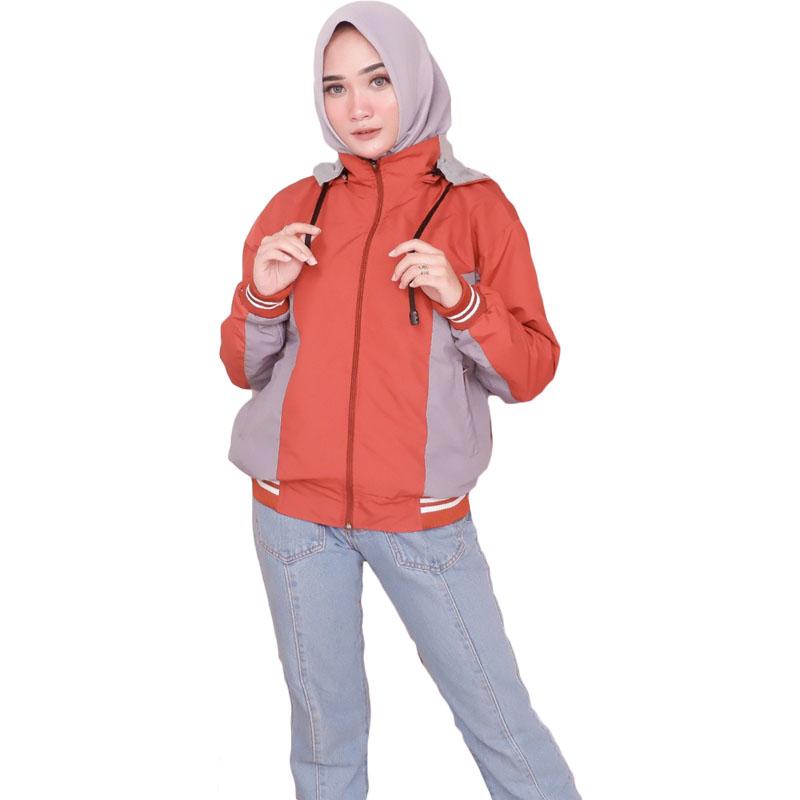 Jaket Boomber Jaket Parasut Wanita Premium - Orange