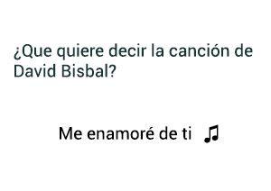 Significado de la canción Me Enamoré de Ti David Bisbal.
