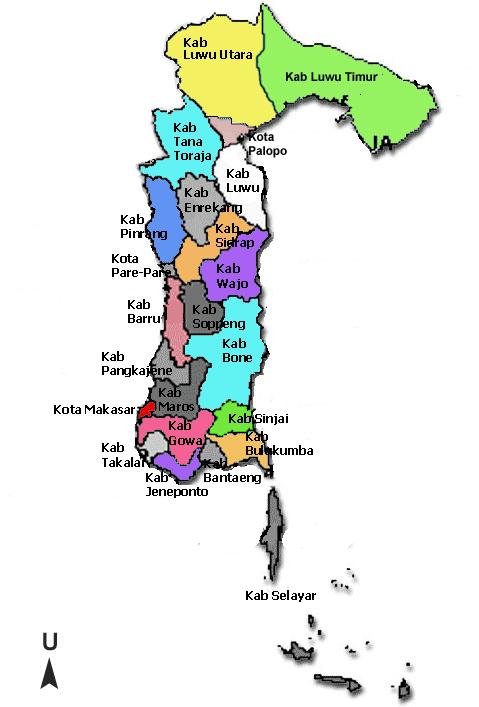 Daftar Kabupaten Kota Provinsi Sulawesi Selatan Tentang Gambar Peta Tenga