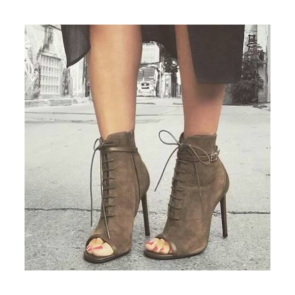 Dark Brown Peep Toe Lace-up Vintage Boots