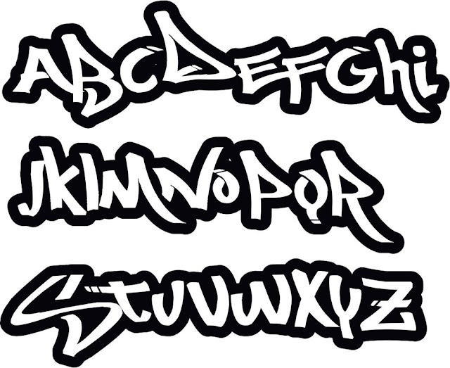 Graffiti letters abc, graffiti font styles